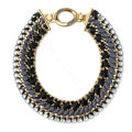 Luxury Crystal Alloy handwoven Pendant Choker Bib Statement Necklace Women Jewelry - Black