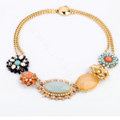 Luxury Crystal Blue Gemstone Alloy Flower Pendant Choker Bib Statement Necklace Women Jewelry