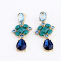 Luxury Crystal Blue Gemstone Raindrop Stud Earrings Gold Plated Women Fashion Jewelry