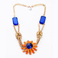 Luxury Crystal Flower Pendant Alloy Choker Bib Statement Necklace Women Jewelry - Orange