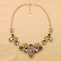 Luxury Crystal Gemstone Alloy Pendant Choker Bib Statement Necklace Women Jewelry - Purple