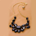 Luxury Crystal Gemstone Flower Pendant Choker Bib Statement Necklace Women Jewelry - Black