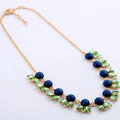 Luxury Crystal Gemstone Flower Pendant Choker Bib Statement Necklace Women Jewelry - Blue