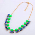 Luxury Crystal Gemstone Flower Pendant Choker Bib Statement Necklace Women Jewelry - Green+Blue