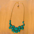 Luxury Crystal Gemstone Flower Pendant Choker Bib Statement Necklace Women Jewelry - Green