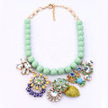 Luxury Crystal Gemstone Flower Pendant Choker Bib Statement Necklace Women Jewelry - Multicolor