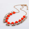 Luxury Crystal Gemstone Flower Pendant Choker Bib Statement Necklace Women Jewelry - Orange