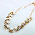 Luxury Crystal Gemstone Flower Pendant Choker Bib Statement Necklace Women Jewelry - White