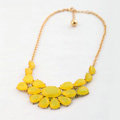 Luxury Crystal Gemstone Flower Pendant Choker Bib Statement Necklace Women Jewelry - Yellow
