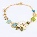 Luxury Crystal Gemstone Pearl Flower Pendant Choker Bib Statement Necklace Women Jewelry