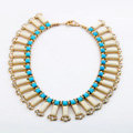 Luxury Crystal Gemstone Pendant Choker Bohemia Bib Statement Necklace Women Jewelry - Beige+Blue