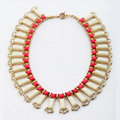 Luxury Crystal Gemstone Pendant Choker Bohemia Bib Statement Necklace Women Jewelry - Beige+Rose