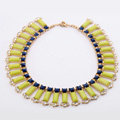 Luxury Crystal Gemstone Pendant Choker Bohemia Bib Statement Necklace Women Jewelry - Yellow