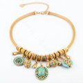 Luxury Crystal Gemstone Pendant Choker Snake chain Bib Statement Necklace Women Jewelry - Blue