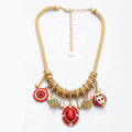 Luxury Crystal Gemstone Pendant Choker Snake chain Bib Statement Necklace Women Jewelry - Red