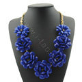 Luxury Crystal Gemstone Pendant Seven flowers Choker Statement Bib Necklace Women Jewelry - Blue