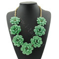 Luxury Crystal Gemstone Pendant Seven flowers Choker Statement Bib Necklace Women Jewelry - Green