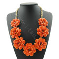 Luxury Crystal Gemstone Pendant Seven flowers Choker Statement Bib Necklace Women Jewelry - Orange