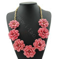 Luxury Crystal Gemstone Pendant Seven flowers Choker Statement Bib Necklace Women Jewelry - Pink