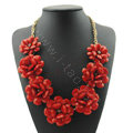 Luxury Crystal Gemstone Pendant Seven flowers Choker Statement Bib Necklace Women Jewelry - Red