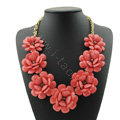 Luxury Crystal Gemstone Pendant Seven flowers Choker Statement Bib Necklace Women Jewelry - Rose