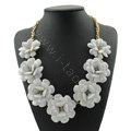 Luxury Crystal Gemstone Pendant Seven flowers Choker Statement Bib Necklace Women Jewelry - White