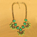 Luxury Crystal Green Gemstone Flower Pendant Choker Bib Statement Necklace Women Jewelry