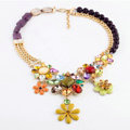Luxury Crystal Multicolor Gemstone Alloy Flower Pendant Choker Bib Statement Necklace Women Jewelry