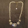 Luxury Crystal Pearl Alloy Flower Pendant Choker Bib Statement Necklace Women Jewelry - White