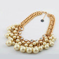 Luxury Crystal Pearl Multilayer Pendant Choker Bib Statement Necklace Women Jewelry - Beige