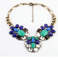 Luxury Crystal Retro Blue Gemstone charm Pendant Choker Bib Statement Necklace Women Jewelry