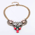 Luxury Crystal Retro Gemstone Flower Pendant Choker Bib Statement Necklace Women Jewelry - Red