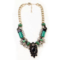 Luxury Crystal Retro Gemstone charm Pendant Choker Bib Statement Necklace Women Jewelry - Black