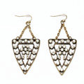 Luxury Crystal Retro punk triangle drop Earrings Gold Plated Women Fashion Jewelry