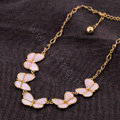 Luxury Crystal Shell Butterfly Pendant Choker Bib Statement Necklace Women Jewelry - Pink