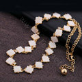 Luxury Crystal Square Shell charm Pendant Choker Statement Necklace Women Jewelry - White