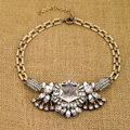 Luxury Crystal White Gemstone Flower Pendant Choker Unique Statement Necklace Women Jewelry