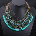 Luxury Exaggeration Retro Weave Women Choker Gem Tassel Bib Necklace Jewelry - Blue