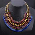 Luxury Exaggeration Retro Weave Women Choker Gem Tassel Bib Necklace Jewelry - Navy