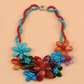 Luxury Exaggeration Women Choker Natural Stone Gem Flower Bib Necklace Jewelry - Red+Blue