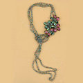 Luxury Fashion Women Choker Sweater chain bead Crystal Flower long Necklace Jewelry - Green