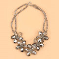 Luxury Fashion Women Exaggeration Choker Crystal Bead Flower Bib Necklace Jewelry - Gray