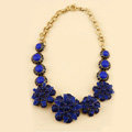 Luxury Fashion Women Exaggeration Choker Flower Gem Bib Necklace Jewelry - Blue