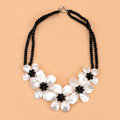 Luxury Fashion Women Exaggeration Choker Natural Shell Flower Bib Necklace Jewelry - White