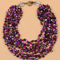 Luxury Fashion Women Exaggeration Choker Natural Shell multilayer Bib Necklace Jewelry - Purple