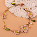 Luxury Fashion Women Romantic Flower Natural Pearl Bracelet Jewelry - Pink