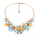 Luxury Multicolor Crystal Shell Flower Pendant Choker Bib Statement Necklace Women Jewelry