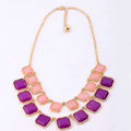 Luxury Multilayer geometry Gemstone Pendant Choker Bib Statement Necklace Women Jewelry - Purple