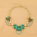 Luxury Retro Alloy Flower Blue Crystal Pendant Choker Bib Statement Necklace Women Jewelry