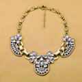 Luxury Retro Alloy Flower Green Crystal Pendant Choker Bib Statement Necklace Women Jewelry